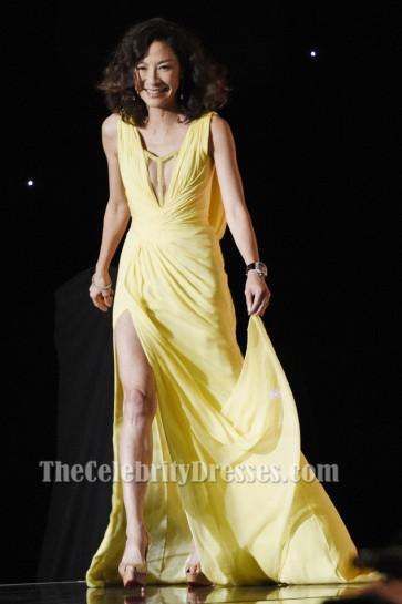 MICHELLE YEOH Gelbes Abendkleid AMPAS '8. Jährliches Gouverneur Awards Kleid