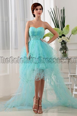 Mint Tulle High Low Strapless Prom Dress Party Dresses