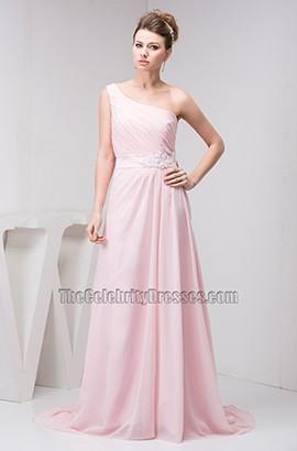 Pearl Pink One Shoulder Bridesmaid Prom Dresses