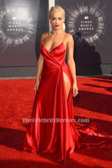 Rita Ora Sexy Rot Backless Abendkleid VMAs 2014 Roter Teppich TCD6173