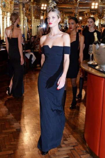 Rosie Huntington-Whiteley Dark Navy Off-the-Shoulder Prom Gowns Evening Dresses