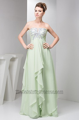 Sage Strapless A-Line Chiffon Prom Gown Evening Dresses