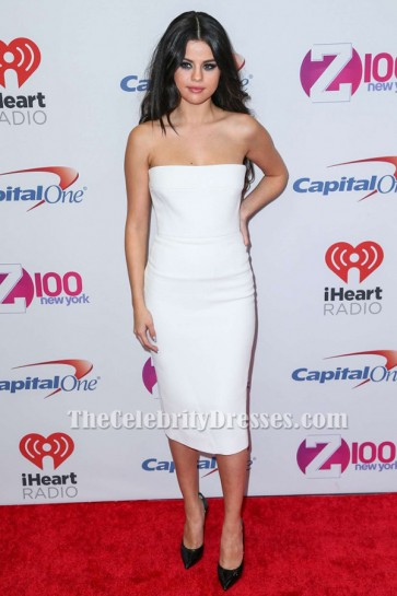 Selena Gomez weißes Cocktailkleid Z100's Jingle Ball 2015 roter Teppich