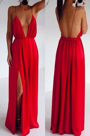 Sexy Red Deep V-neck Spaghetti Strap Backless Maxi Dress Prom Dresses