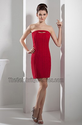 Sheath /Column Red Strapless Party Homecoming Dresses