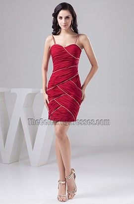 Short Burgundy Spaghetti Straps Party Cocktail Homecoming Dresses