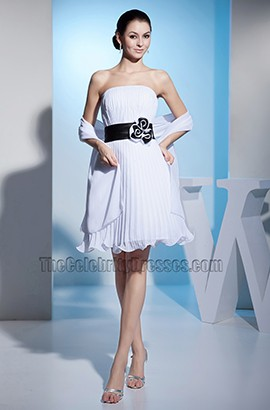 Strapless A-Line Chiffon Short Wedding Dress With A Wrap