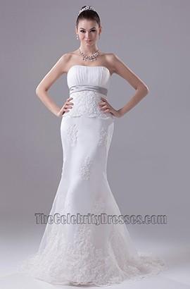 Strapless Sheath Column Sweep Brush Train Wedding Dress