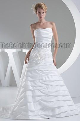 Sweetheart Strapless A-Line Chapel Train Wedding Dress