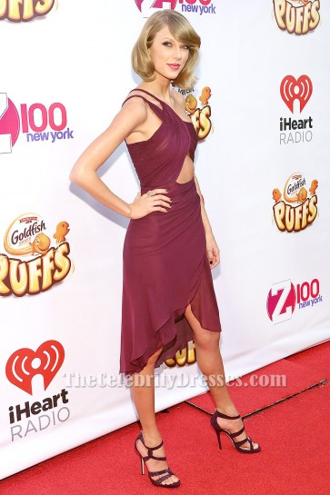 Taylor Swift Kurzes Burgund Cocktailkleid Z100's Jingle Ball TCD5990