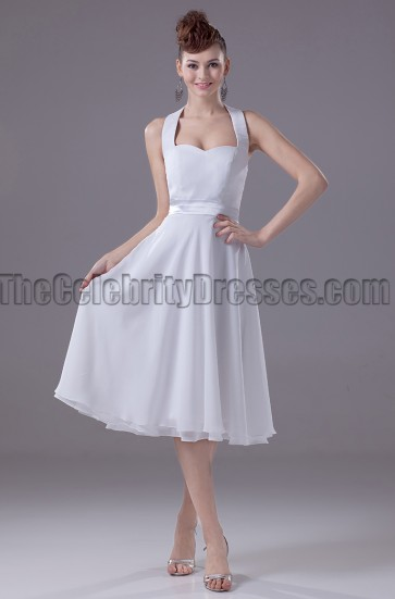 White Halter Chiffon Cocktail Party Graduation Dresses