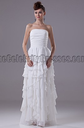White Strapless A-Line Chiffon Prom Gown Evening Dress