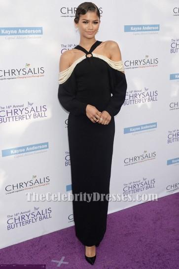 Zendaya Coleman Schwarzes Abendkleid 16. Jährliches Chrysalis Butterfly Ball