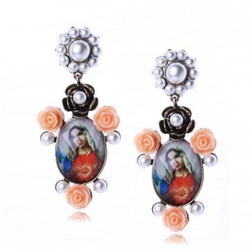 Baroco Virgin Mary  Flower Pearl Drop Earrings TCDE0053