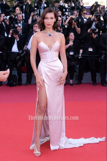 Bella Hadid Pearl Pink Strapless Thigh-high Split Slip Prom Evening Dress Cannes Film Festival 2017