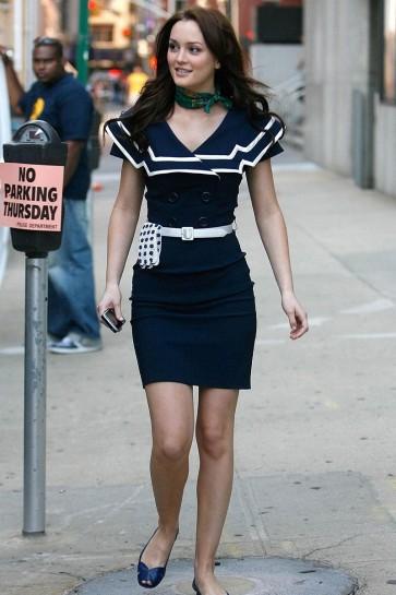 Blair Waldorf Navy Blue Short Sailor Dress