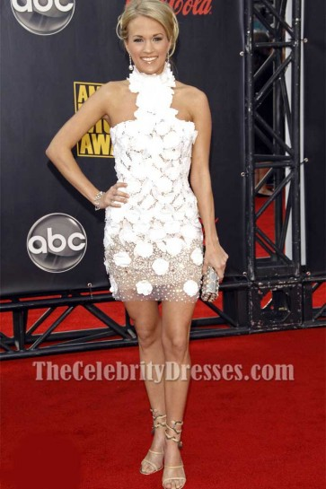 Carrie Underwood Georges White Halter Lace Beaded Party Dress 2015 AMAs Red Carpet