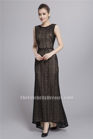 Celebrity Inspired Black Lace Cut Out Sleeveless Evening Prom Dresses TCDBF055