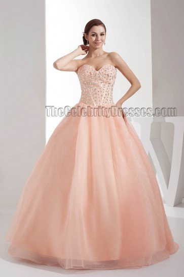 Celebrity Inspired Strapless Beaded Ball Gown Quinceanera Dresses