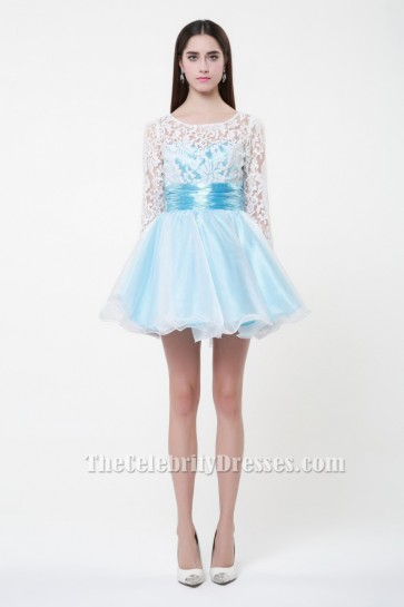 Cute Short Long Sleeve A-Line Party Homecoming Dresses