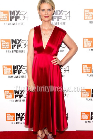 Cynthia Nixon Red Deep V-neck Prom Dress At The 54th New York Film Festival  1