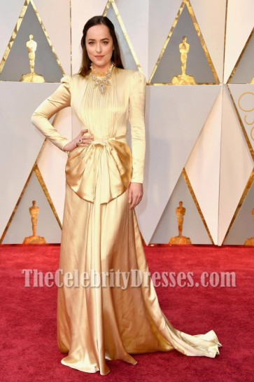 Dakota Johnson  2017 Oscars Evening  Dress Gold Long Sleeves Prom Gown