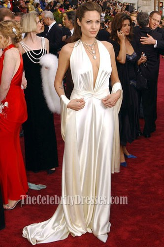 Angelina Jolie Deep V Neck Sexy White Oscar Dress Red Carpet Prom Gown  5