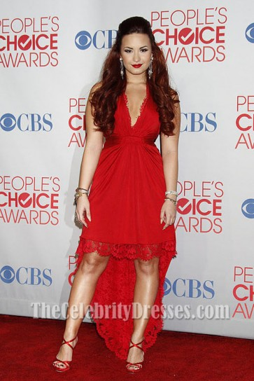 Demi Lovato Red Hi-Low Prom Dress 2012 People's Choice Awards Red Carpet
