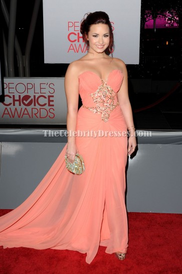 Demi Lovato Strapless Prom Dress 2012 People's Choice Awards Red Carpet
