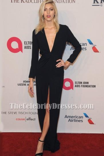 Devon Windsor Black Low Cut Evening Gown Elton John AIDS Foundation gala 3