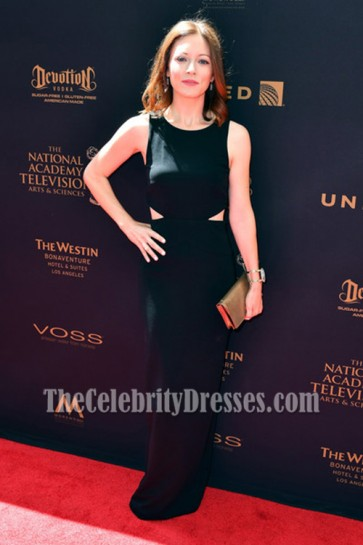 Elizabeth Bogush Black Cut Out Evening Prom Gown 43rd Annual Daytime Emmy Awards  2