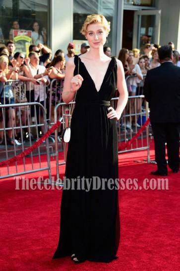 Elizabeth Debicki Black Deep V-neck Evening Prom Gown Disney The BFG Premiere 5
