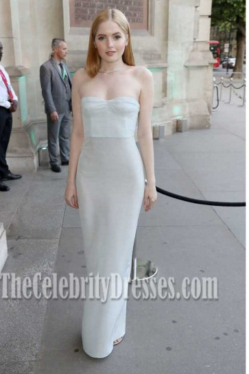 Ellie Bamber  Strapless Column Dress With Backless Back V&A Summer-Party