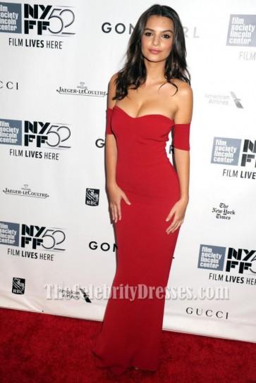 Emily Ratajkowski Red Evening Dress 'Gone Girl' World Premiere