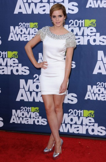 Emma Watson Short White Cocktail Homecoming Dress MTV Movie Awards 2011
