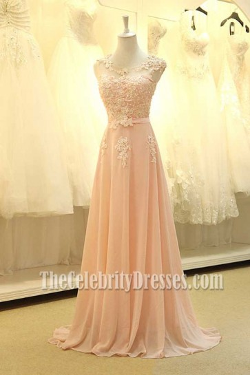 Floor Length Pearl Pink Prom Gown Bridesmaid Dresses