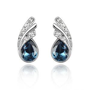Genuine Austrian Crystal Tear Drop Stud Earrings Flowing TCDE0107