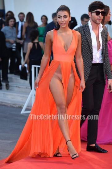 Giulia Salemi Orange Sexy Evening Prom Gown 'Brimstone' Premiere 2016 Venice Film Festiva 2