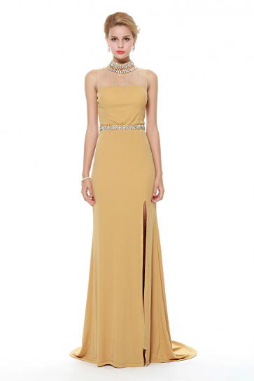 Gold Backless Evening Formal Dress With High Slit