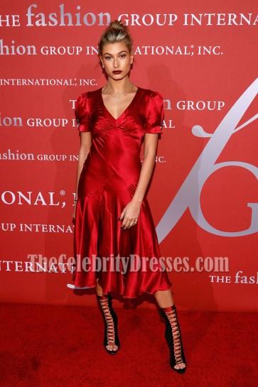 Hailey Baldwin Dark Red Short Sleeves Cocktail Dress 2016 Fashion Group International Night of Stars Gala  6