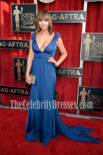 Jackie Cruz Royal Blue Deep V Neckline Ruffled Shoulder Evening Dress 22nd Annual Screen Actors Guild Awards