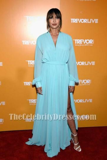 Jackie Cruz Deep V-neck Thigh-high Split Evening Dress With Long Sleeves TrevorLIVE NYC 2017