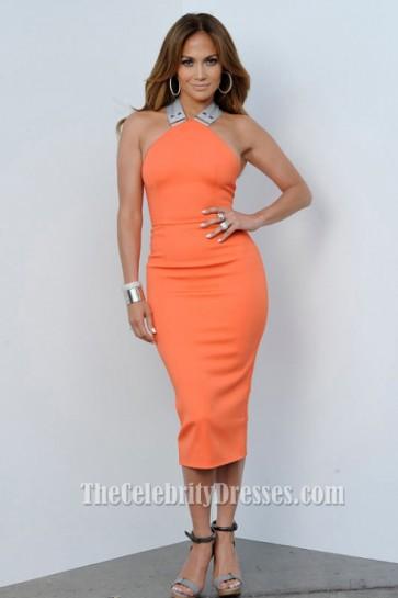 Jennifer Lopez And Victoria Beckham Orange Cocktail Dress Celebrity Dresses