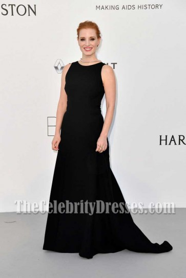 Jessica Chastain Black Backless and sleeveless Princess Dress At AmfAR's 24th Cinema Against AIDS Gala