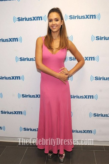 Jessica Alba Pink V-Neckline Low-Cut Evening Dress New York
