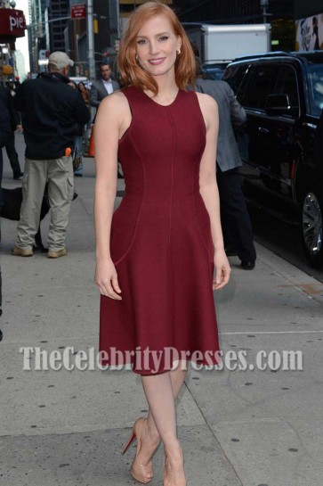 Jessica Chastain Burgundy Party Dress AOL's Build Speaker Series Crimson Peak 2015