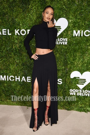 Joan Smalls Black Two Pieces Evening Prom Gown 2016 God's Love We Deliver Golden Heart Awards 3