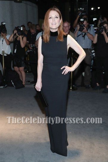 Julianne Moore Black Column Evening Prom Gown dress New York Fashion Week 1