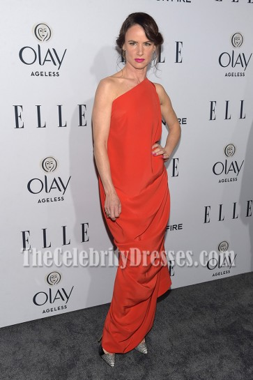 Juliette Lewis Red One-shoulder Evening Prom Gown Elle Women Red Carpet Dress 5
