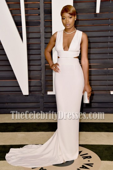 Keke Palmer White Cutout Long Evening Prom Gown Elton John Aids Foundation Oscar Viewing Party 6